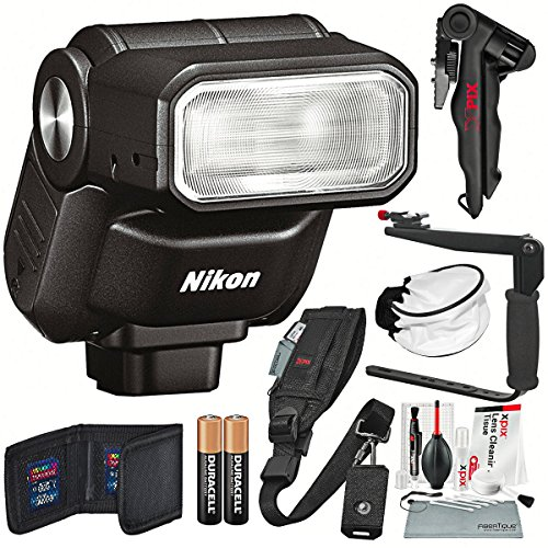 Nikon 1 SB-N7 Speedlight (Black) and Photographers Deluxe Bundle w/ Xpix Pro Camera Strap, Tripod, Complete Cleaning Kit + Diffuser + Flash Bracket + SD Wallet + More by Photo Savings