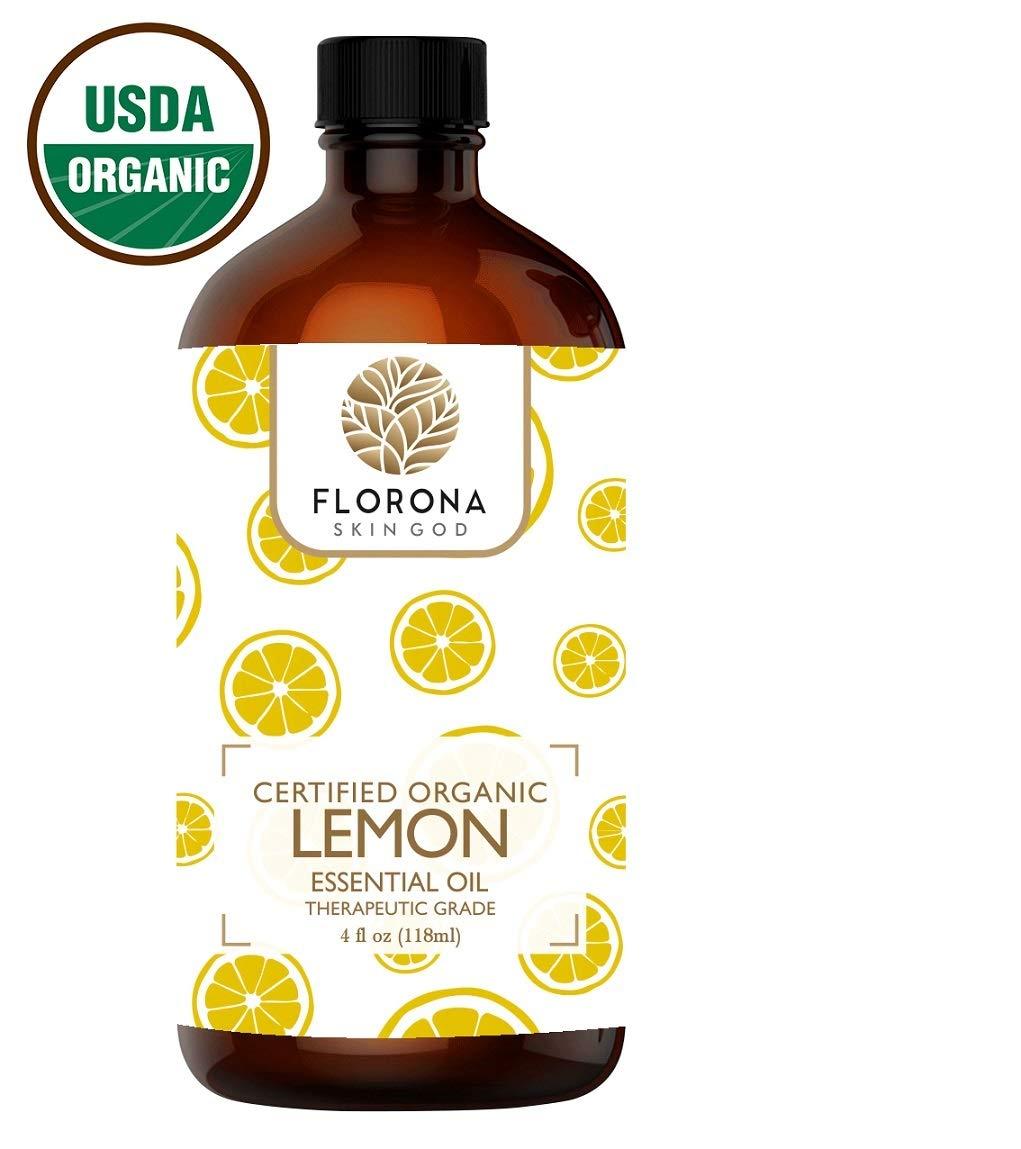 FLORONA Organic Lemon Essential Oil, 4 Oz USDA Certified Organic by FLORONA