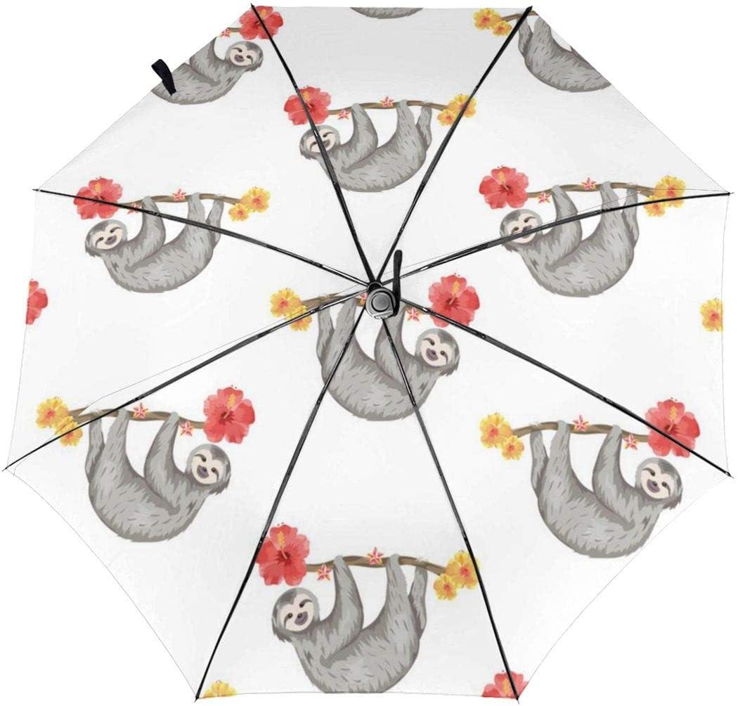 Cute Sloth Pattern Automatic Tri-fold Umbrella Folding Rain Umbrell Sunshade