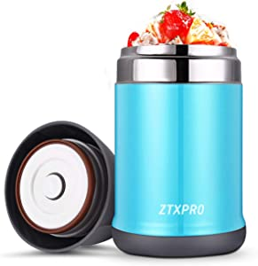 Insulated Food Storage Container Thermos Food Jar ZTXPRO Stainless Steel Hot & Cold Vacuum Box with Handle 16 oz Leak Proof Design Lunch Box for Kids School Picnic Office Outdoors – Blue