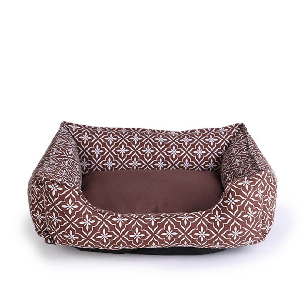 A 6050cmDesti Flakes Pet Bolster Dog Bed Comfort Canvas Print Square Kennel Comfort Pet nest (color   C, Size   50  40cm)