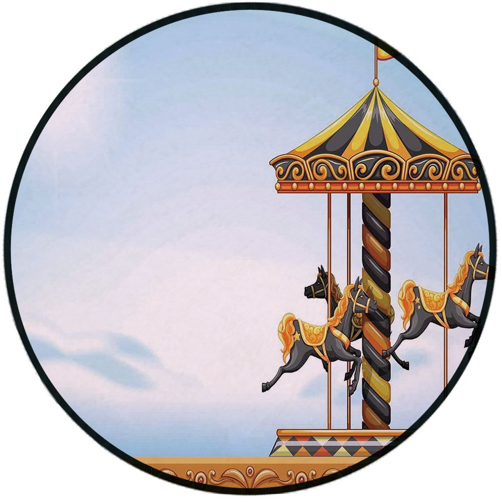 Printing Round Rug,Outdoor,Carousel Ride Amusement Park Platform Carnival Circus Horse Roundabout Mat Non-Slip Soft Entrance Mat Door Floor Rug Area Rug For Chair Living Room,Black Yellow Light Blue