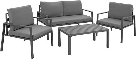 TecTake 403202 Conjunto de Muebles de Aluminio para Jardín, 2 Sillones 1 Sofá 1 Mesa, Estructura Inoxidable, Incl. Cojines Impermeables, Gris: Amazon.es: Jardín