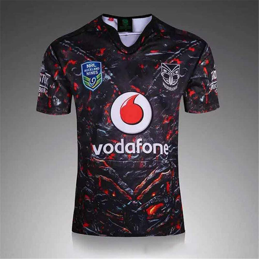 LQWW Sports Fan Jerseys,World Cups Rugby Jersey, New Zealand Warriors Home and Away Football Clothing Men's Rugby T-Shirt 100% Polyester Quick-Dry Short Sleeve Supporter's Polo Shirt