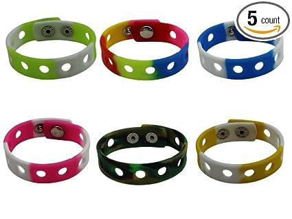 6708a7b8052a2 Image Unavailable. Image not available for. Color  6 Pcs Adjustable Jibbitz  Croc Wrist Bracelet Band for Shoe Charms