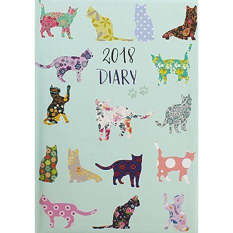 A5 gatos 2018 agenda semana para ver Bundle con diseño de bolígrafo de gato