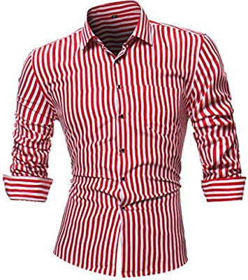 Camisas hombre Rayas de manga larga camiseta de otoño e invierno estilo invierno,YanHoo® Mens Casual color manga larga camisa negocio Slim Fit camisa impresa blusa (Rojo, L): Amazon.es: Iluminación