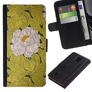 Billetera de Cuero Caso Titular de la tarjeta Carcasa Funda para Samsung Galaxy Note 4 SM-N910 / Begonia Flower White Yellow Vintage / STRONG