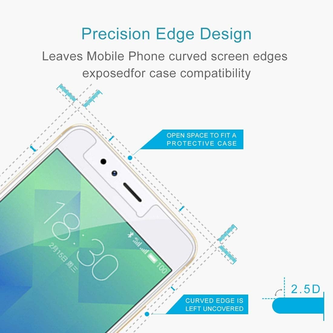 Ruanmaoshi Cell Phone Accessory 100 PCS 9H 2.5D Tempered Glass Film for Meizu M5S Phone Screen Protectors