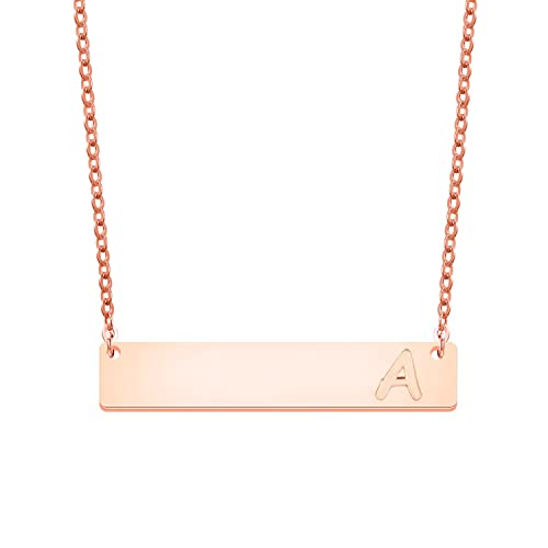 Amazon Com Maofaed Initial Necklace Rose Gold Bar Necklace Letter