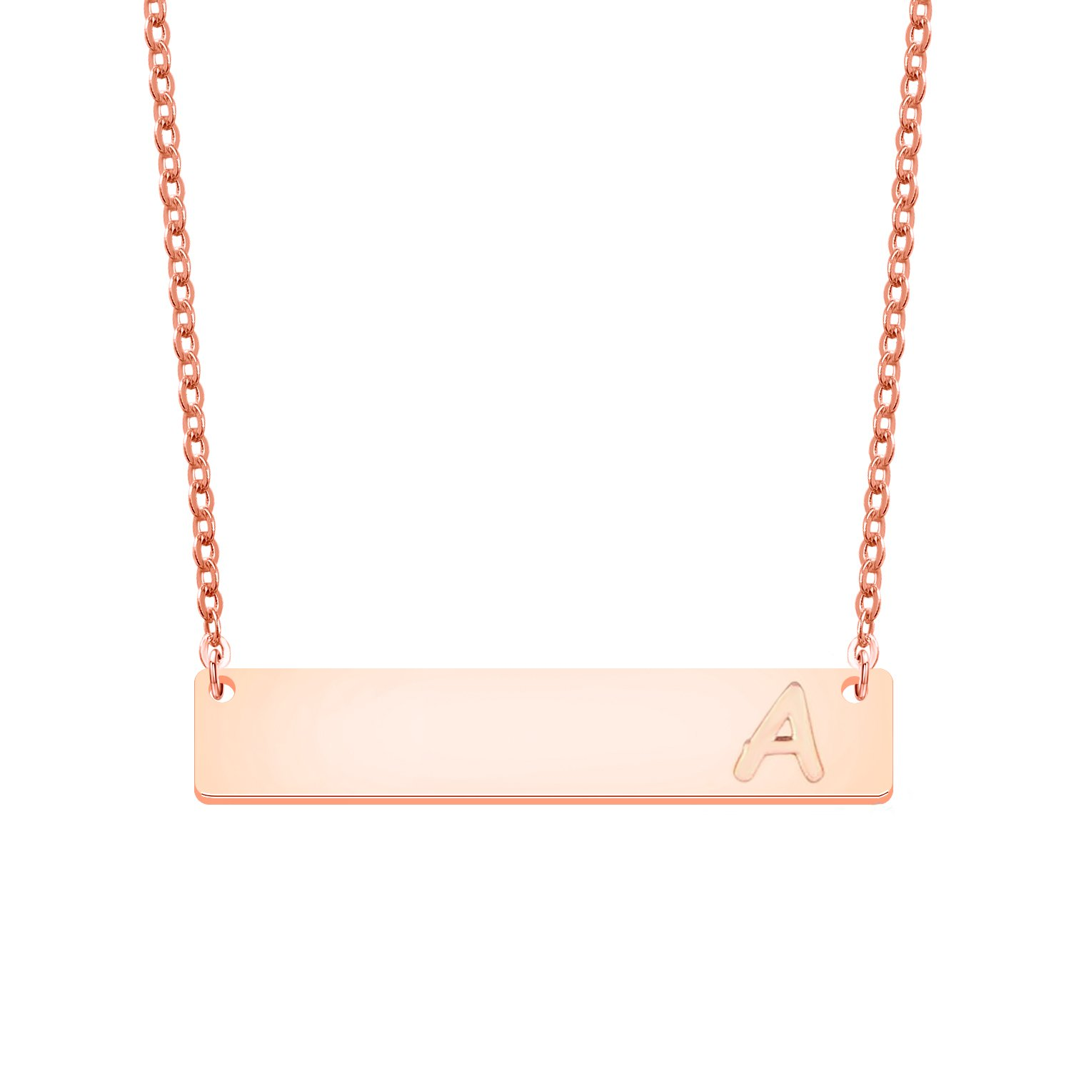 MAOFAED Initial Necklace ,Rose Gold Bar Necklace Letter Necklace Wedding Gift (A)