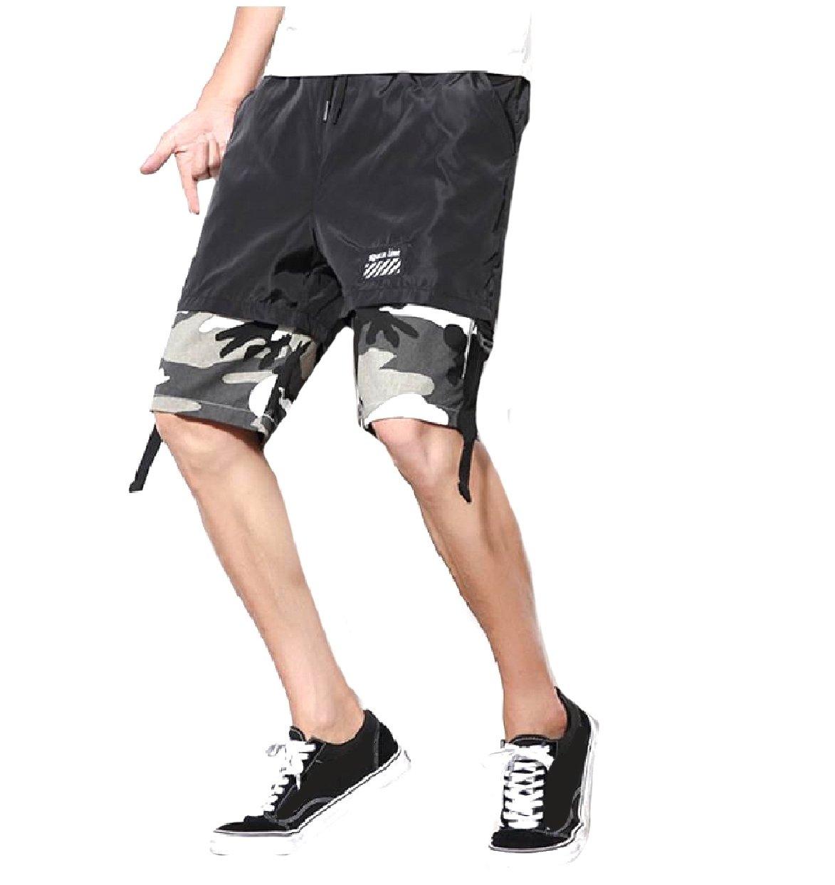SportsX Mens Multicam Straight-Fit Plus Size Stitch Mid Length Short Grey M