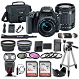 Canon EOS Rebel SL2 DSLR Camera with EF-S 18-55mm f/4-5.6 IS STM Lens + 2.2x Aux Telephoto Lens + 0.43 Aux Wide angle Lens + 2 Pcs 32GB Memory Card + Premium Accessories (18 Items)