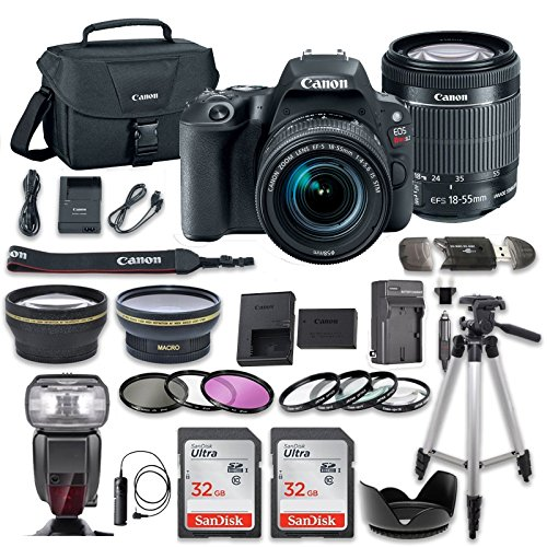 Canon EOS Rebel SL2 DSLR Camera with EF-S 18-55mm f/4-5.6 IS STM Lens + 2.2x Aux Telephoto Lens + 0.43 Aux Wide angle Lens + 2 Pcs 32GB Memory Card + Premium Accessories (18 Items) by Canon