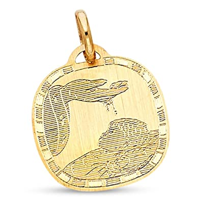 yellow medal com x solid baptism charm polished pendant dp style medallion religious amazon holy gold finish