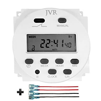 JVR 12V Timer Switch for Solar Lights Chicken Coop Door, Digital ...