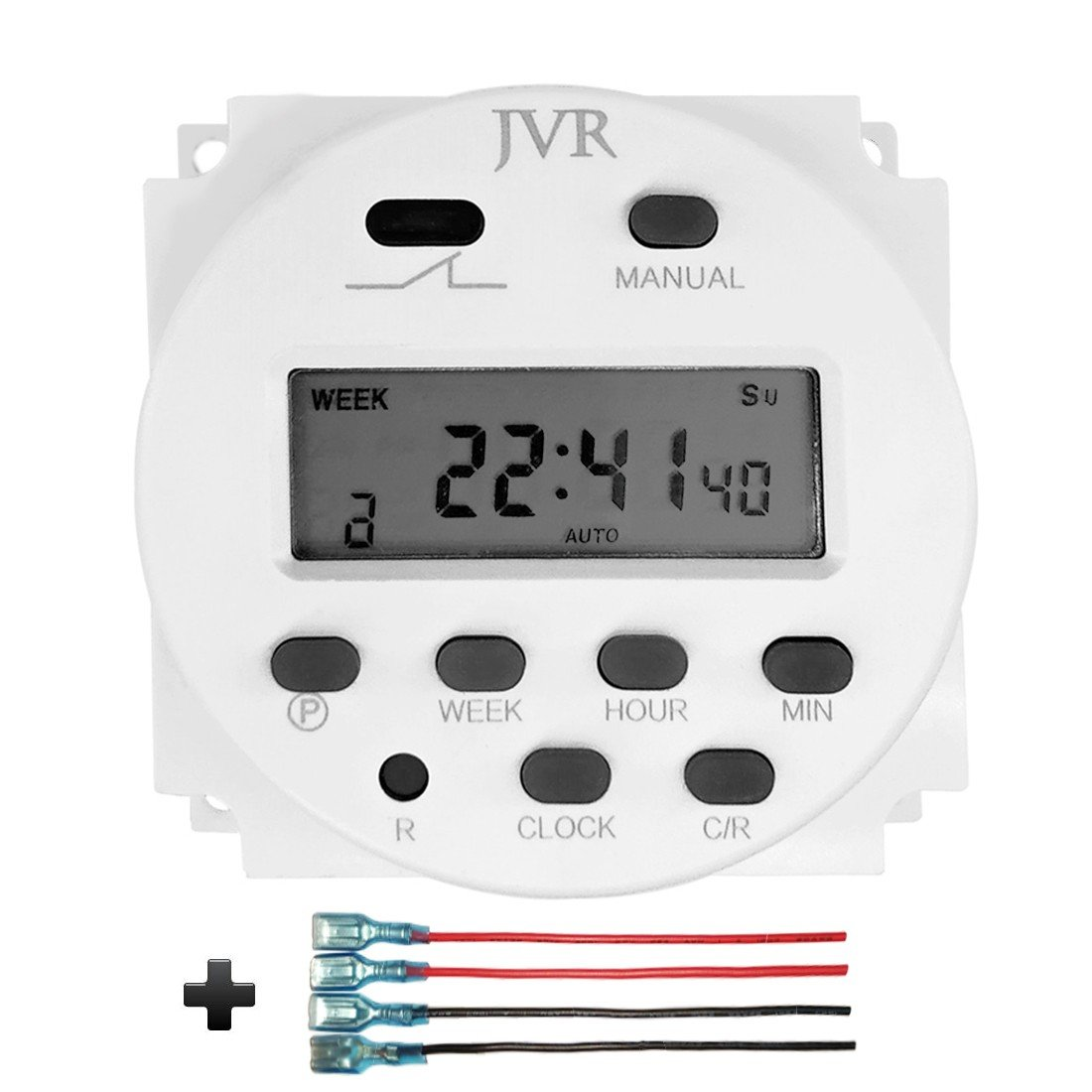 JVR 12V Timer Switch for Solar Lights Chicken Coop Door, Digital Programmable Time DC/AC 12 Volt Battery Powered with 4 Female Wire Terminal Cables