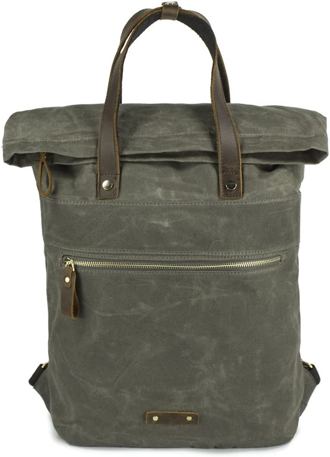 Waxed Canvas Backpack Roll Top Big Rucksack Unisex Casual Daypack