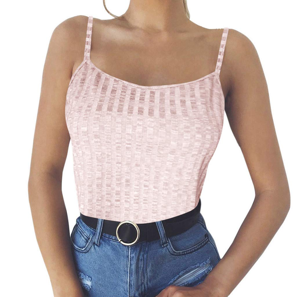 NUWFOR Fashion Womens Sexy Solid Tank Top Vest Off Shoulder Halter Blouse T-Shirt (Pink,US S Bust:31.5-33.9'')