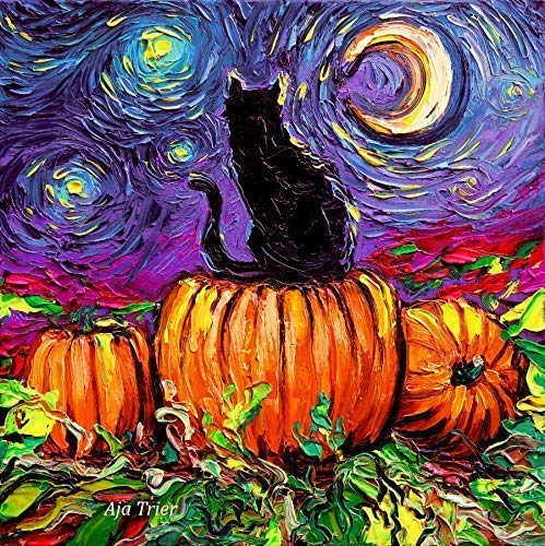 Black Cat Halloween Pumpkin Wall Art Print Starry Hallows Eve Art by Aja choose size and type of -