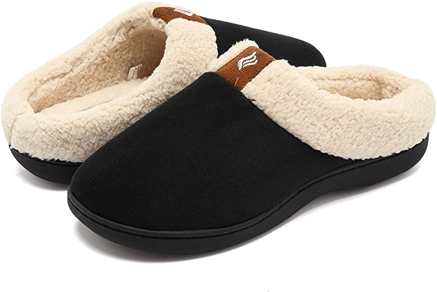 1ce0e87c75b7 ... Faux Fur Lining Slip-on Clog Scuff House Shoes Indoor   Outdoor. CIOR  Fantiny Women s Memory Foam Slippers Suede Wool-Like Plush Fleece Lined Slip -on