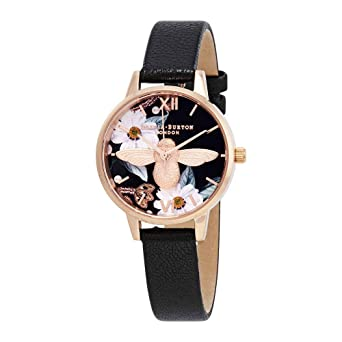 a3886d9d429 Image Unavailable. Image not available for. Color  Olivia Burton Bejewelled Florals  Black Dial Ladies Watch OB16BF05