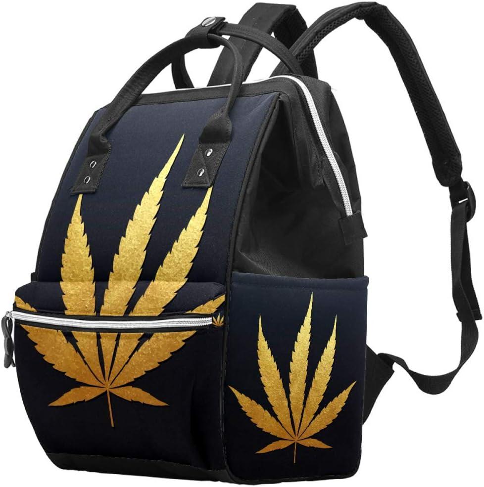 Bennigiry - Bolsa para pañales de marihuana dorada y hoja de cannabis para mamá, gran capacidad, bolsa de viaje, bolsa organizadora multifunción