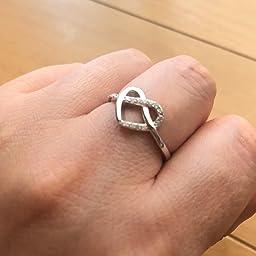 Amazon Yl 指輪 ハート リング レディース 純銀シルバー 925 ジルコニア 可愛い シンプル 人差し指 細身 結婚 人気 専用ボックス付き リング 通販