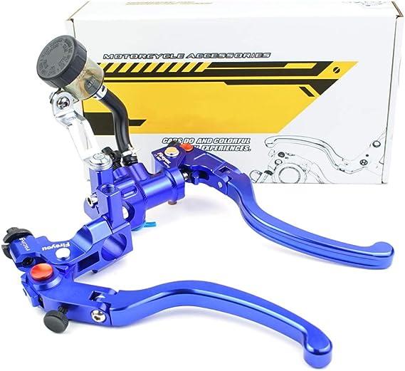 Kupplungshebel Motorrad Brems Cnc Hydraulische Bremse Hauptbremszylinder Verstellbares Klappbares Rennrad Rcs 17 5 Hauptbremszylinder Hebel 7 8 Zoll Für 150 To 600cc Blau Paar Auto