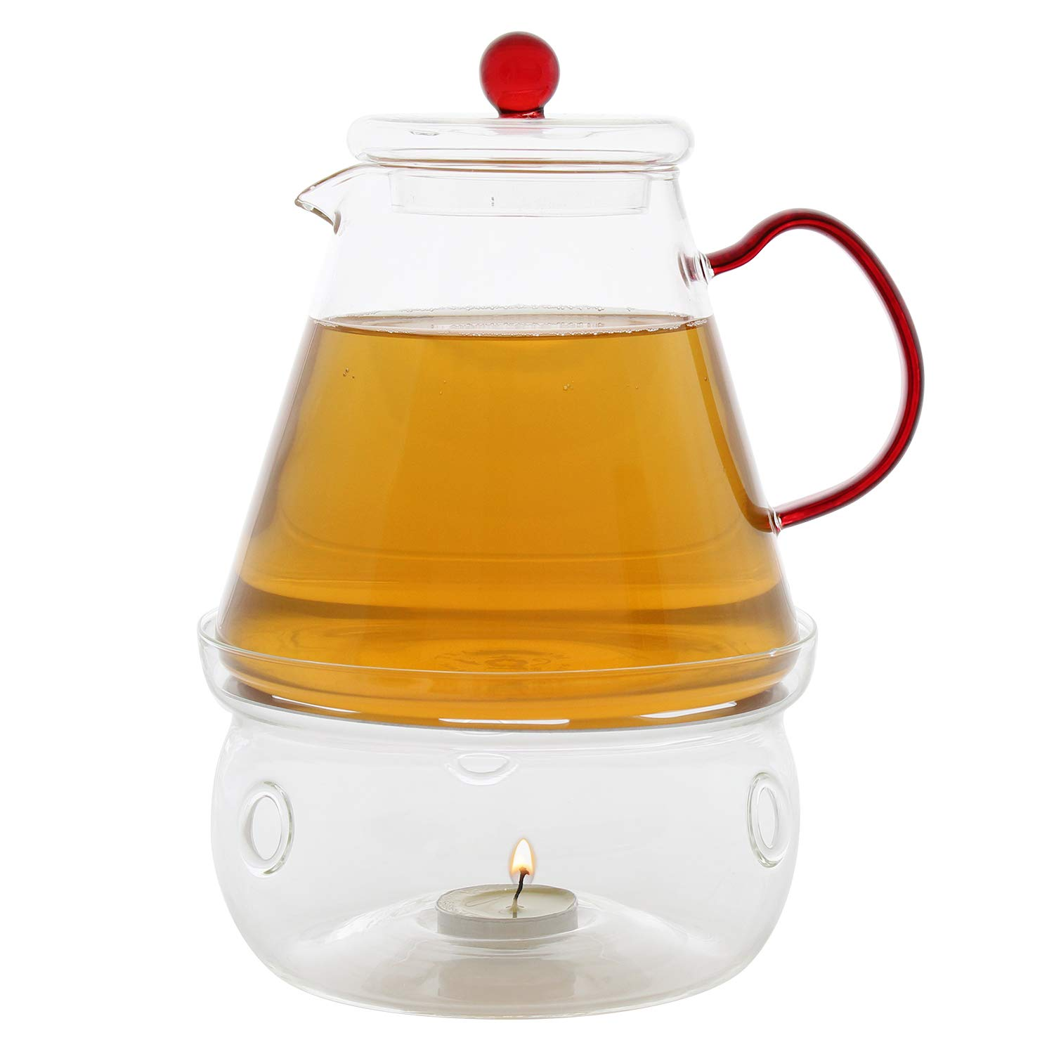 Teabloom Universal Tea Warmer (Large Size - 6 in / 15 cm diameter) - Handcrafted with Heat Proof & Lead-Free Glass - Tea Light Candle Included by Teabloom