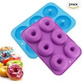Sc0nni 2Pcs Nonstick 6-Cavity Silicone Donut Baking Pan - Professional Grade Doughnut Pan Mold, Donut Pan/Mold for Baking, BPA Free, Oven, Dishwasher, Microwave and Freezer Safe (Blue & Purple)