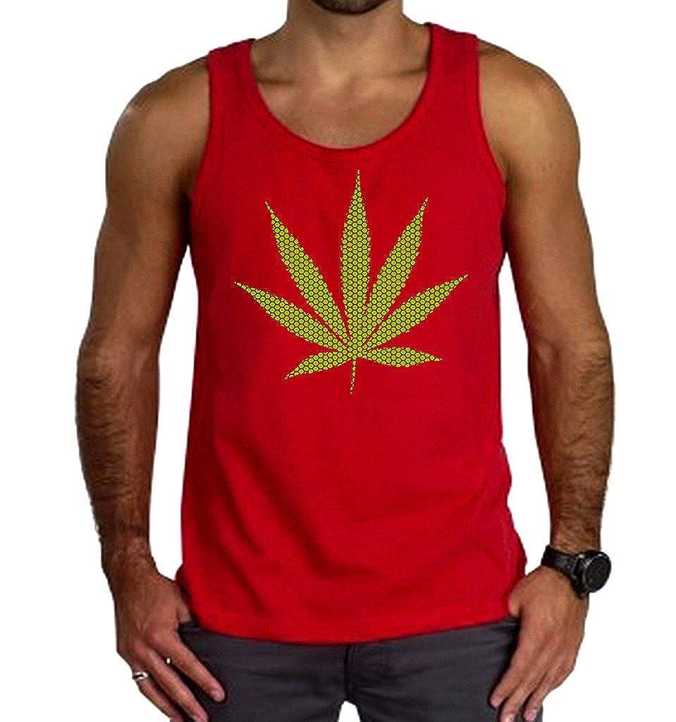 Mens Green Polka Dot Weed Leaf Red Tank Top Red