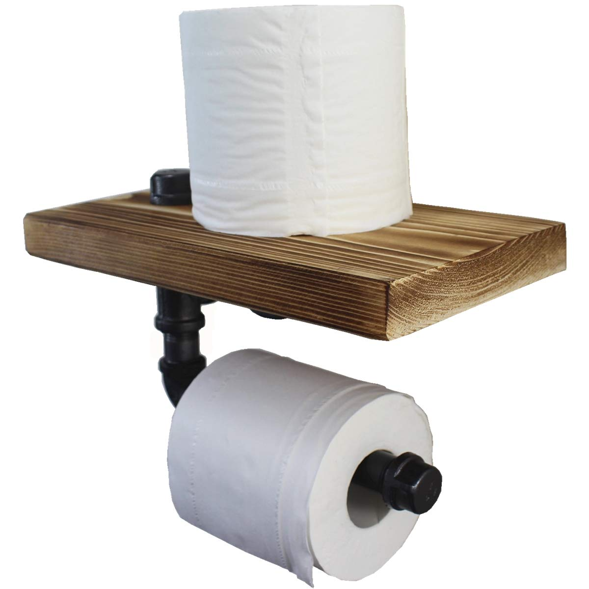 Industrial 1/2'' Iron Pipe Toilet Paper Roll Holder with Rustic Wooden Shelf Wall Mounted Urban Bathroom Storage Pipe Decor