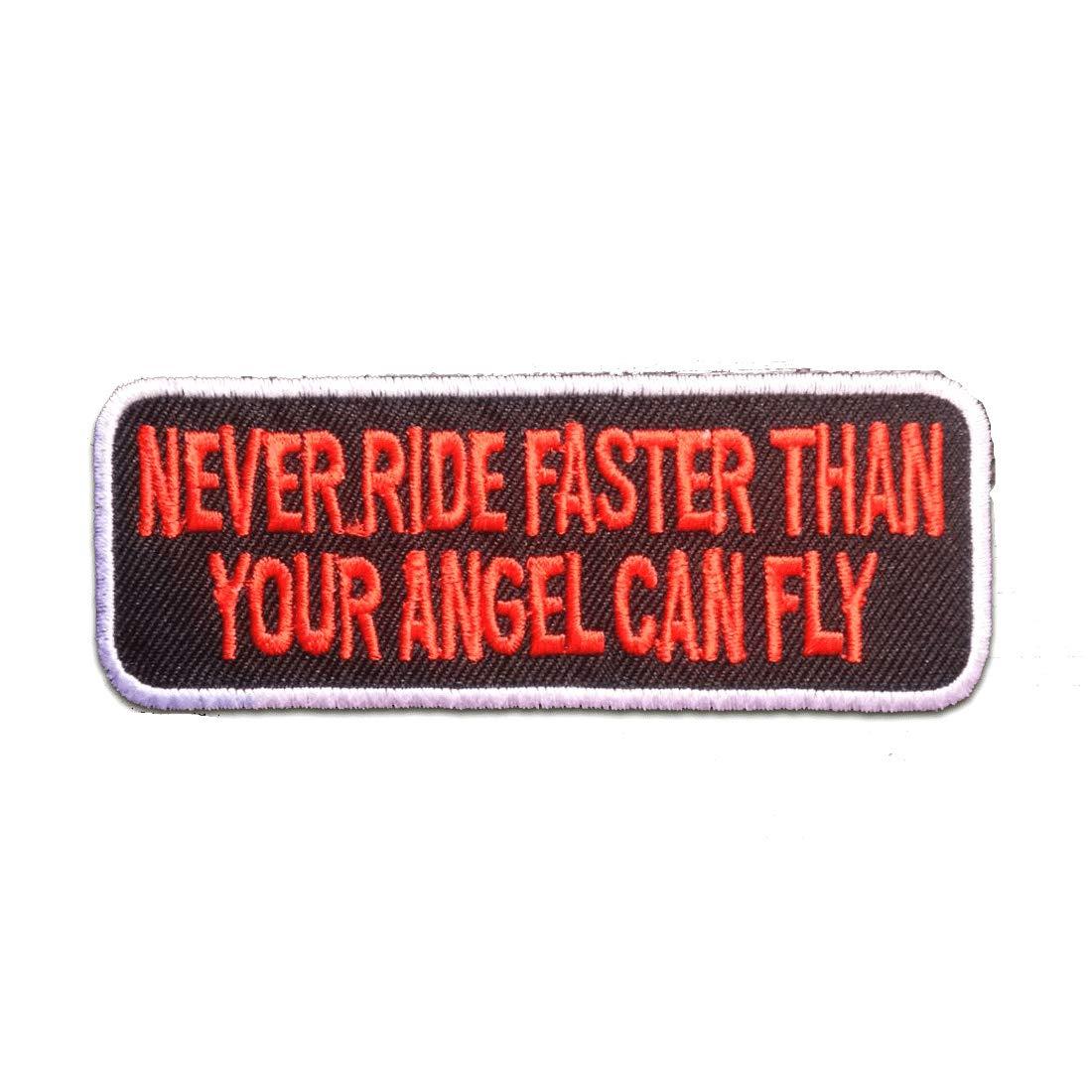 Toppe termoadesive - Never Ride Faster.Biker - rosso - 9.8x3.7cm - Patch Toppa ricamate Applicazioni Ricamata da cucire adesive