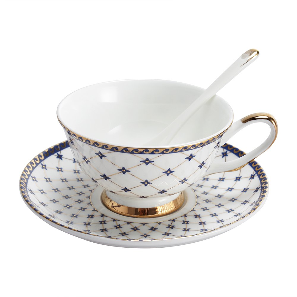 Porlien Exquisite Royal Blue 6.7-Ounce Teacups/Coffee Cups & Saucers Set with Spoons, Gold Trimmed, Porcelain, Set of 2, Gift Box Packing