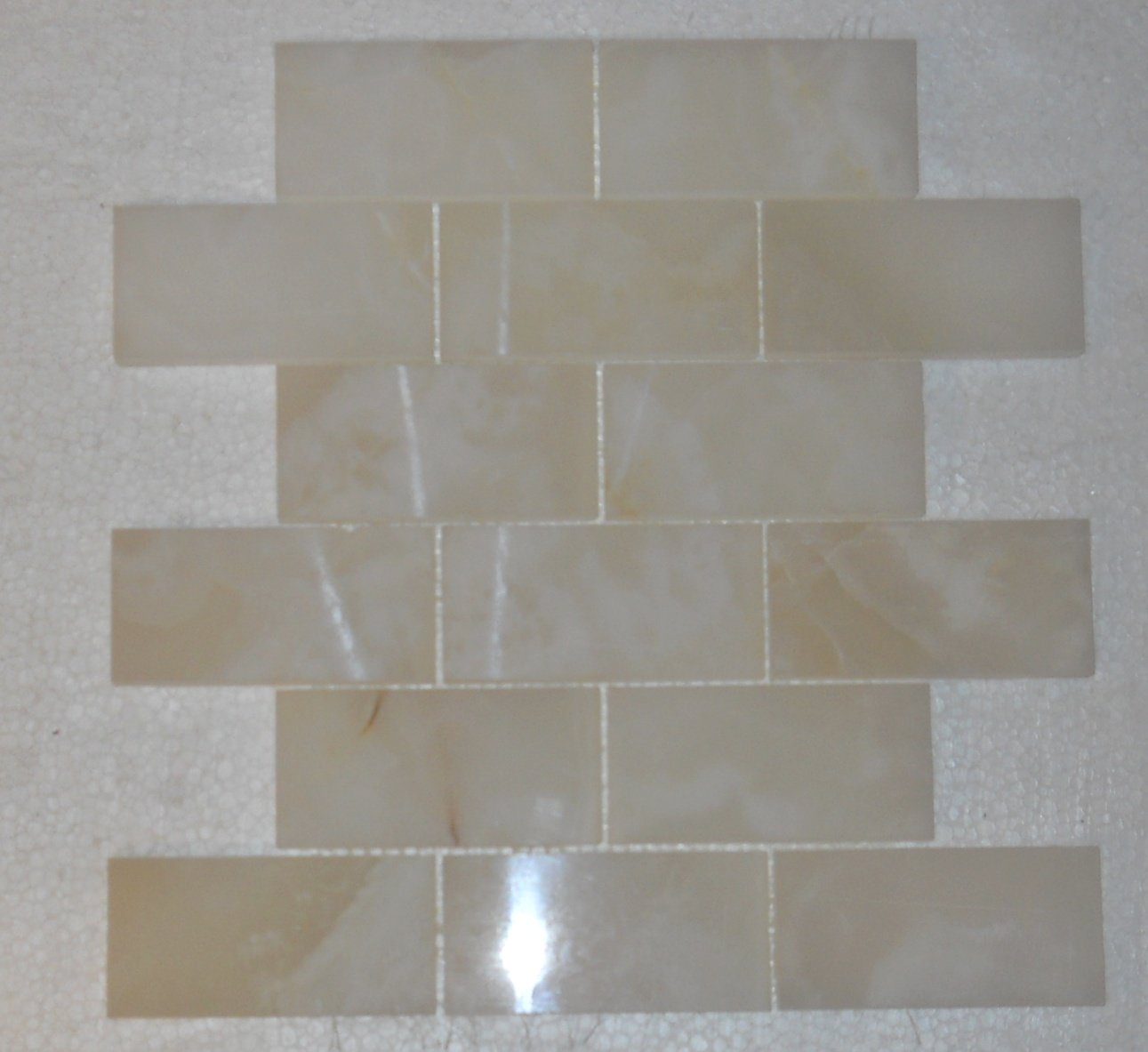 Premium White Onyx Vein Cut 2 X 4 Polished Brick Mosaic Tile