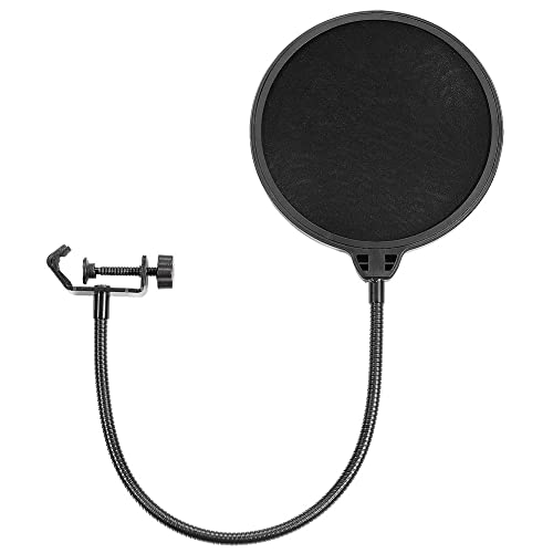 Neewer NW(B-3) 6-inch Studio Microphone Mic Round Shape Wind Pop Filter Mask Shield with Stand Clip (Black Filter)