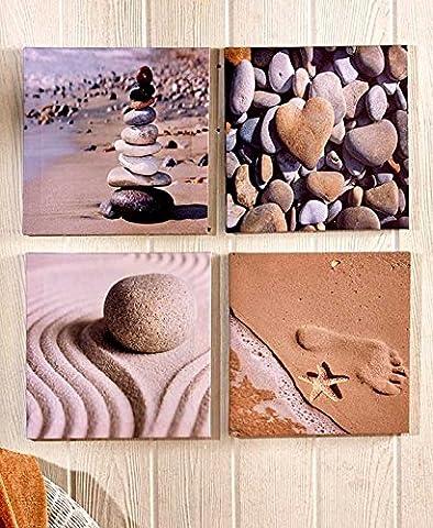 4 Pc Canvas Beach Lake Coastal Nautical African Safari Wall Art Set (Beach) - Seaside Dreams Panel Bed