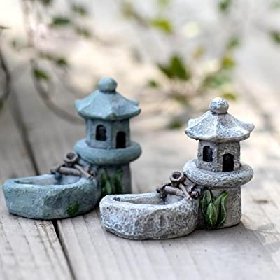 DAWEIF Vintage Artificial Pool Tower Miniature Fairy Garden Home Houses Decoration Mini Craft Micro Landscaping Decor DIY Accessories: Home & Kitchen