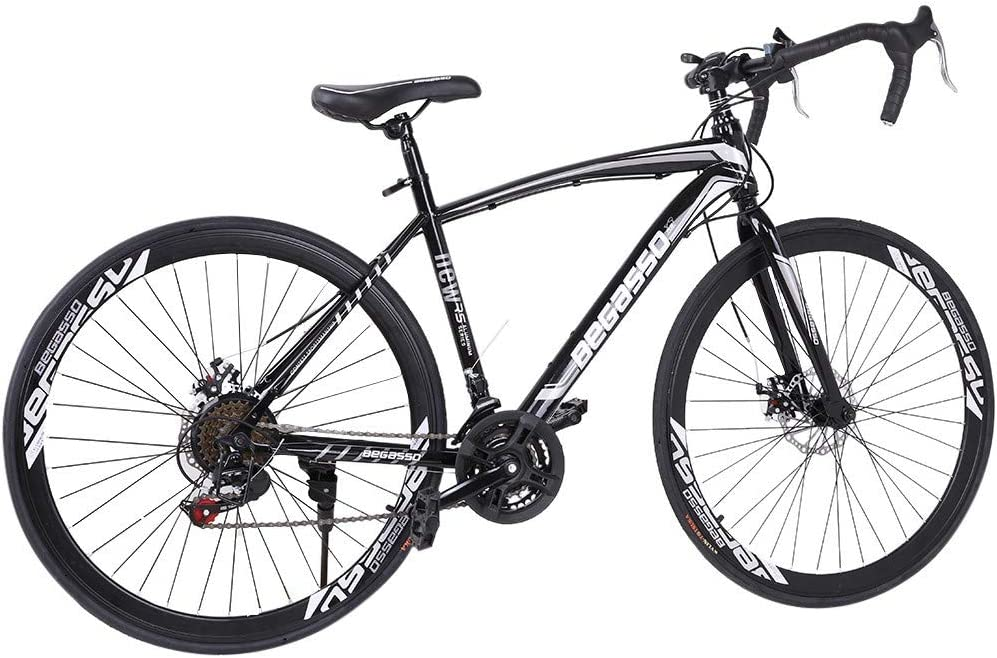 """SSYUNO 700c Road Bike City Commuter Bicycle with 21 Speed Disc Brakes, 26"""" Aluminum Frame Suspension Hybrid Road Bike for Mens/Womens"""