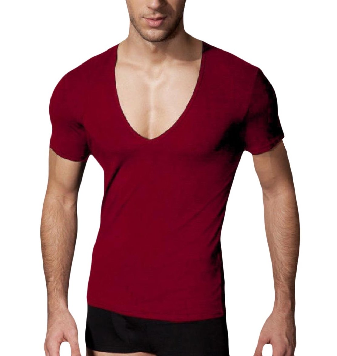 Fseason-Men Short-Sleeve Stretch V-Neck Solid Color Modal Sport T-Shirt Top Wine Red XS