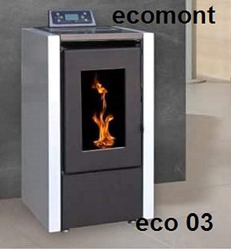 ECOMONT Estufas DE PELLETS Modelo Eco 03 7KW,Potencia Maxima, Negro Y Burdeos