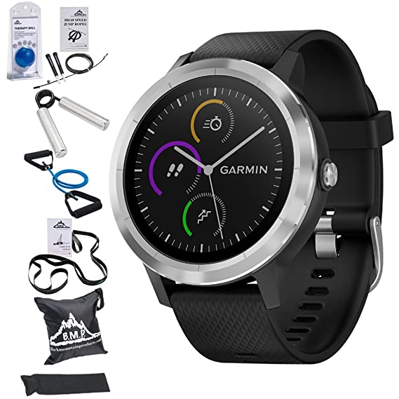 Garmin Vivoactive 3 GPS Fitness Smartwatch (Black) with 7-Piece Fitness Kit