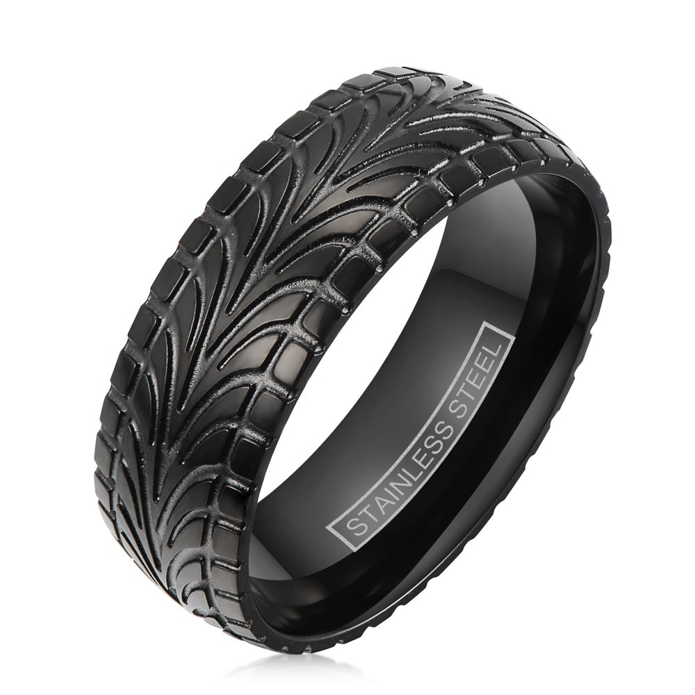 Magnificent Black Ion Plated Stainless Steel Ring in Cool Tire Tread Pattern. (14)