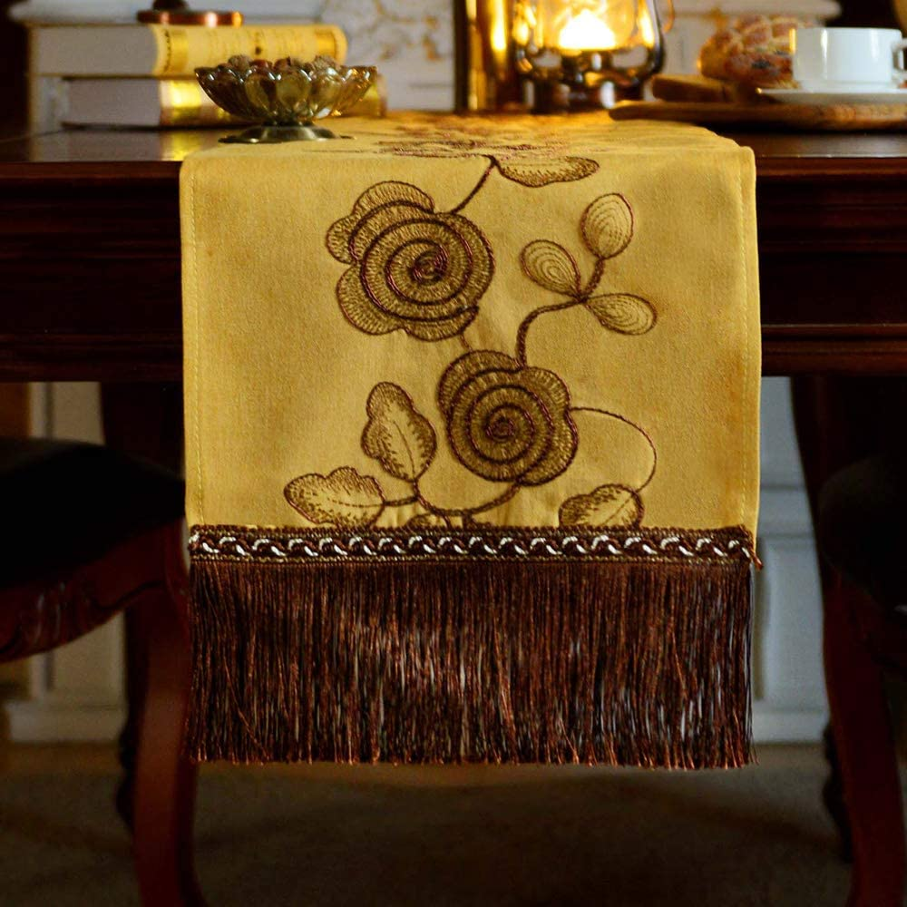 ARTABLE Lace Table Runner Fall Dresser Scarf Boho Yellow Flower Embroidered Exquisite Macrame Modern Dresser Runner for Farmhouse Wedding Holiday Dinner Kitchen Decor (Sunset Yellow, 12 x 108 Inch)