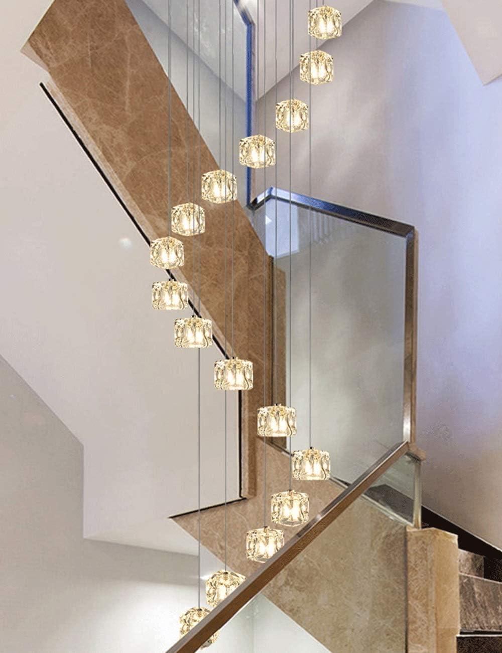 YUNZHI Escalera de Caracol lámpara de Techo de Cristal, 19.7 X 78.7 en (Color: Rojo), Color: White Light (Color : Warm Light): Amazon.es: Hogar