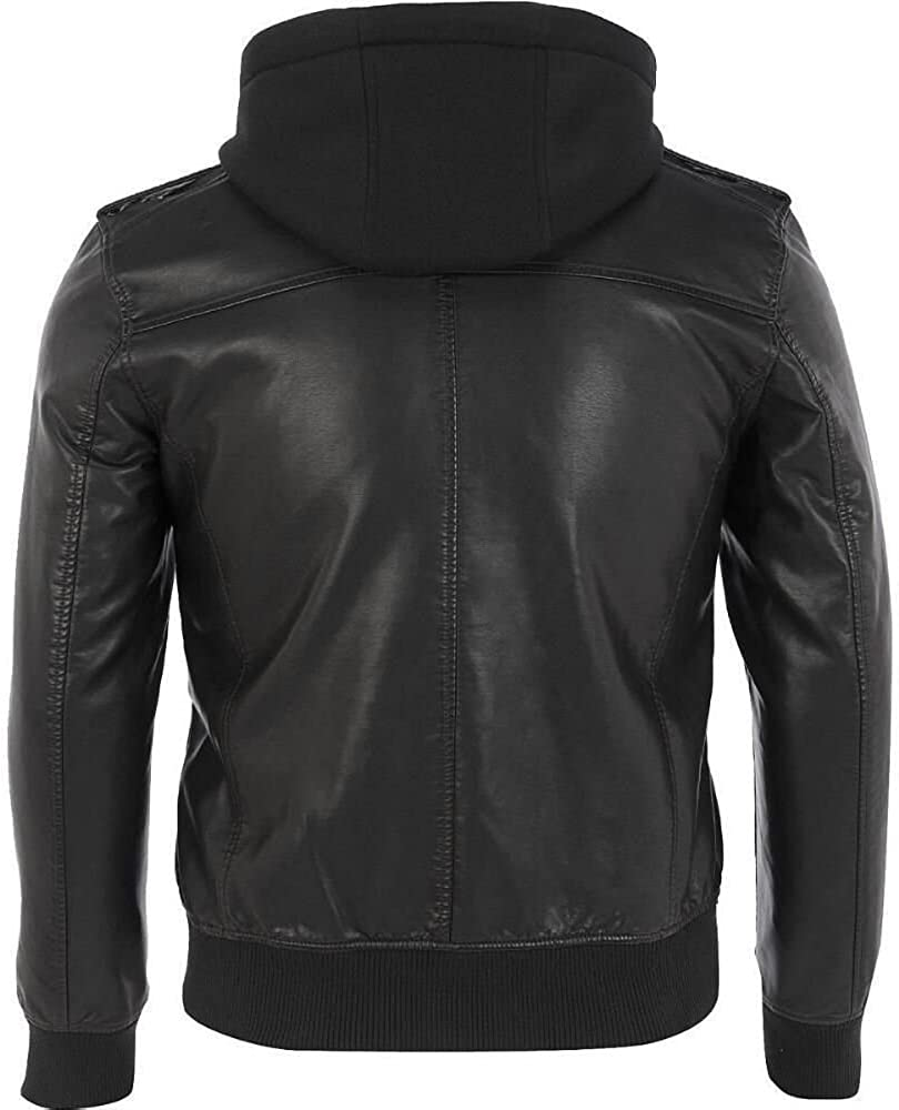 VearFit Brendo Bomber Hooded Black Faux Leather Jacket for Men Detachable Hood