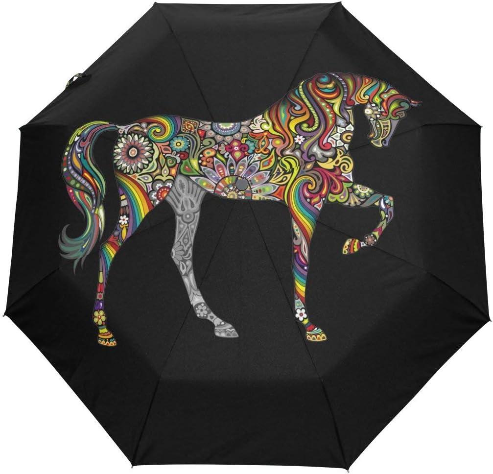 Doreen Dalton - Paraguas de Cierre automático con 3 Pliegues, diseño de Mandala de Caballo, Color Negro