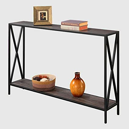 Tall Narrow Console Table Entryway Table Modern Hallway With Storage Shelf  Black And Grey Sofa Table