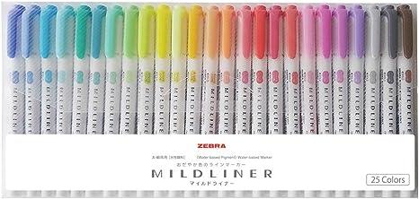 Double-Sided Highlighter Marker WKT7-25C Zebra Mildliner 25 color